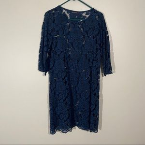 Cut Loose Small Blue Black Lace Floral Tunic Dress
